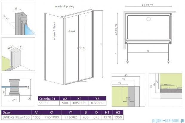 Radaway Eos II DWD+S kabina 100x90 prawa szkło przejrzyste 3799492-01/3799411-01L