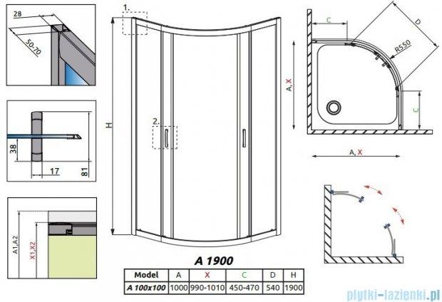 Radaway Premium Plus A Kabina półokrągła 100x100x190cm szkło satinato 30423-01-02N