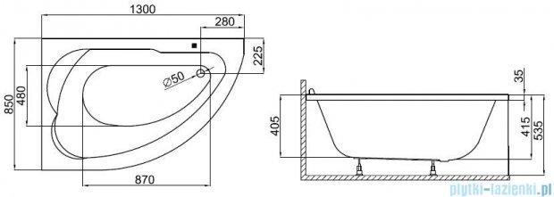 Polimat wanna asymetryczna 130x85 Standard lewa 00350