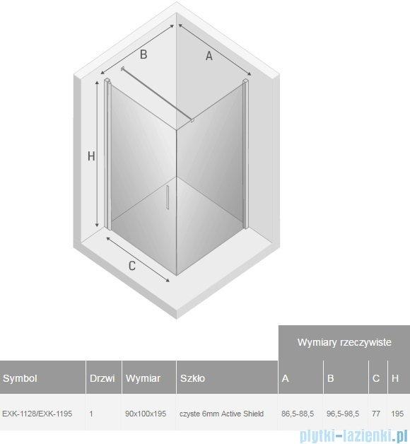 New Trendy Negra kabina prysznicowa 90x100cm przejrzyste EXK-1128/EXK-1195