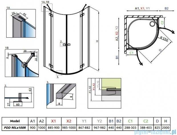 Radaway Essenza New Pdd kabina 90x100cm szkło przejrzyste 385001-01-01L/385003-01-01R