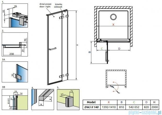 Radaway Arta Dwj II drzwi wnękowe 140cm prawe szkło przejrzyste 386444-03-01R/386016-03-01R