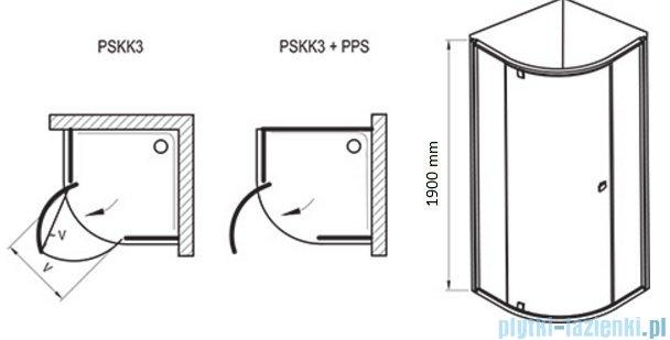 Ravak Kabina prysznicowa Pivot PSKK3 półokrągła 90x90 biała/biała 37677101Z1