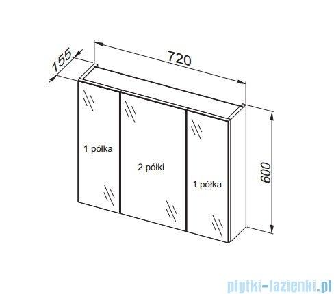Aquaform Dallas szafka wisząca z lustrem 75cm biały 0408-530122