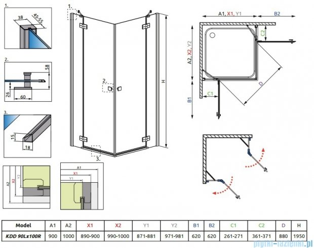 Radaway Almatea Kdd Gold kabina prysznicowa 90x100 szkło przejrzyste 32183-09-01N