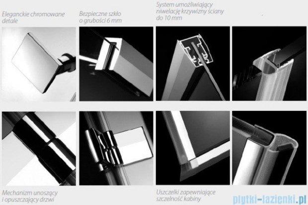 Radaway Kabina prysznicowa Almatea KDJ+S 90x90x90 prawa szkło przejrzyste + Brodzik Delos C + syfon 31522-01-01R