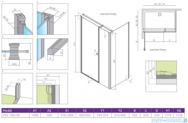 Radaway Eos KDS kabina prysznicowa 100x90 lewa szkło przejrzyste 37551-01-01NL