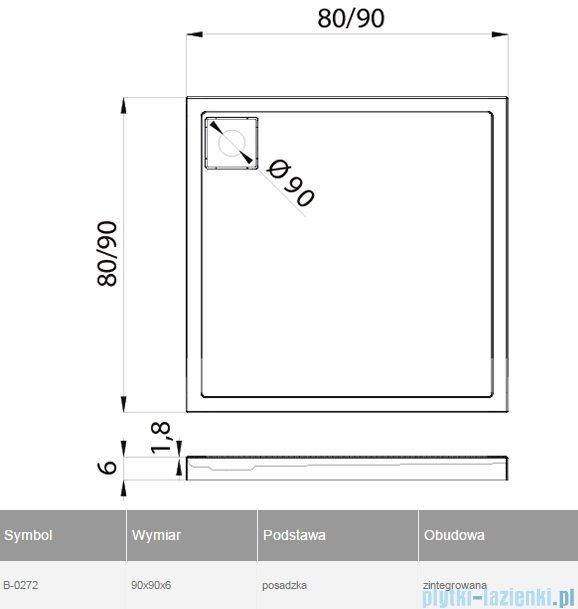 New Trendy Lido brodzik kwadratowy 90x90x6cm B-0272