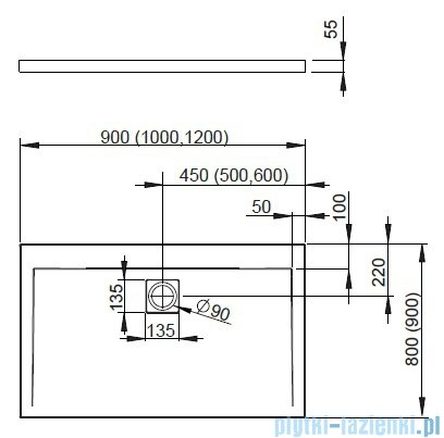 Radaway Eos II DWD+S Kabina 100x80 prawa szkło przejrzyste + brodzik Argos D + syfon 3799492-01/3799410-01L/4AD810-01