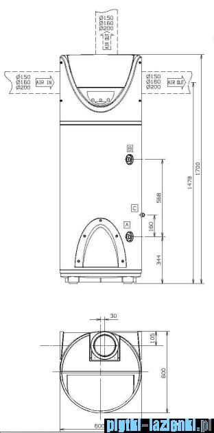 Ariston stojąca pompa ciepła do podgrzewania wody 200 Nuos FS 3210031