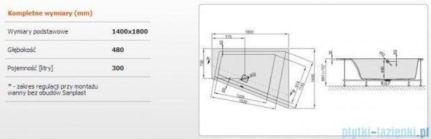Sanplast Space Line Wanna trapezowa prawa+stelaż+adapter z pokrywką WTP/SPACE 180x140+SP, 610-100-1360-01-000