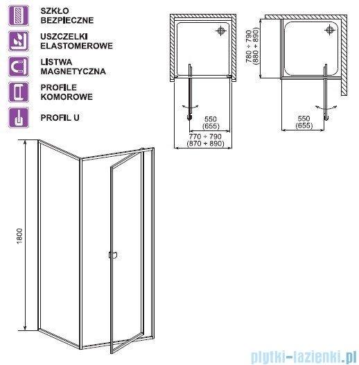 Aquaform Elba drzwi kabinowe uchylne 90cm 26508