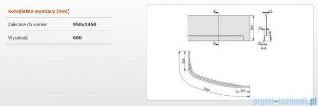 Sanplast Obudowa do wanny Free Line prawa, OWAP/FREE 95x145 cm 620-040-1240-01-000