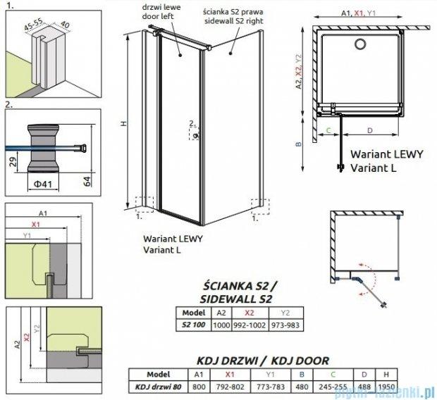 Radaway Eos II KDJ kabina prysznicowa 80x100 lewa szkło przejrzyste 3799420-01L/3799432-01R