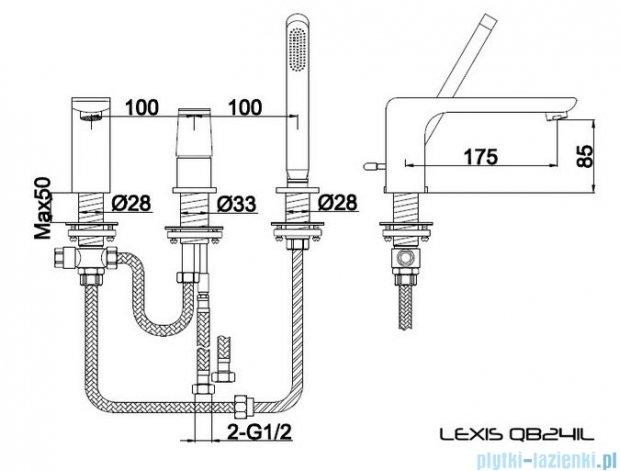 Kohlman Lexis 3-otworowa bateria wannowa QB241L
