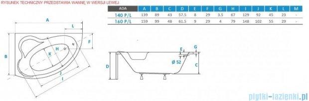Piramida Ada 140x90cm Wanna asymetryczna Prawa