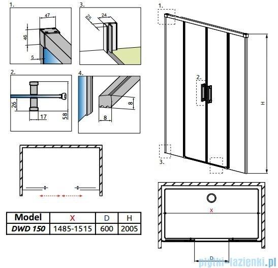 Radaway Idea Dwd drzwi wnękowe 150cm szkło przejrzyste 387125-01-01