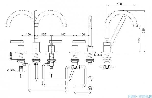 Kohlman Roxin 5-otworowa bateria wannowa QB242R