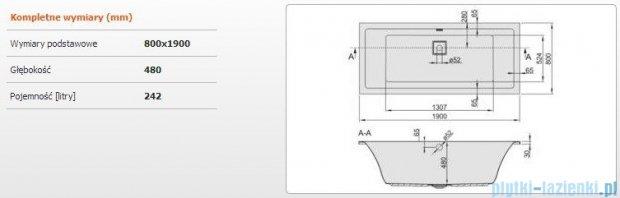 Sanplast Space Line Wanna prostokątna+adapter z pokrywką WP/SPACE 190x80, 610-100-0350-01-000