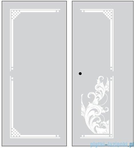 Kerasan Kabina prostokątna lewa, szkło dekoracyjne piaskowane, profile złote 80x96 Retro 9142P1