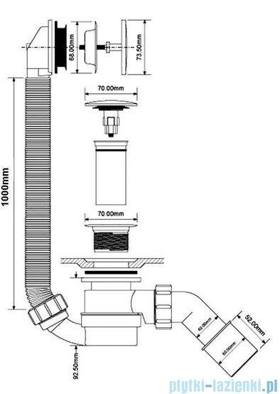 McAlpine syfon wannowy odpływowo-przelewowy klik-klak pokrywa chrom HC2600CL-1M