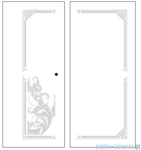 Kerasan Kabina prostokątna prawa, szkło dekoracyjne przejrzyste, profile chrom 80x96 Retro 9141N0