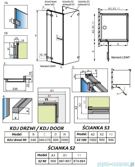 Radaway Euphoria KDJ P Kabina przyścienna 90x100x90 lewa szkło przejrzyste 383044-01L/383030-01/383036-01