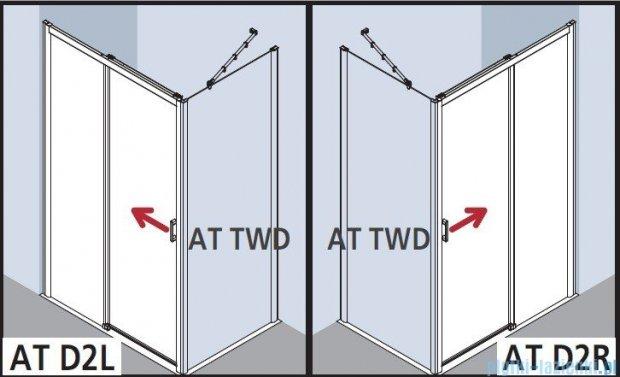 Kermi Atea Drzwi przesuwne bez progu, prawe, szkło przezroczyste, profile białe 100x185 ATD2R100182AK