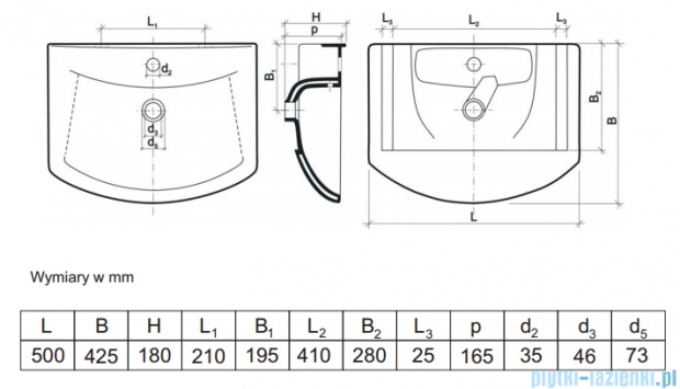 Aquaform umywalka meblowa 50cm 0448-160000