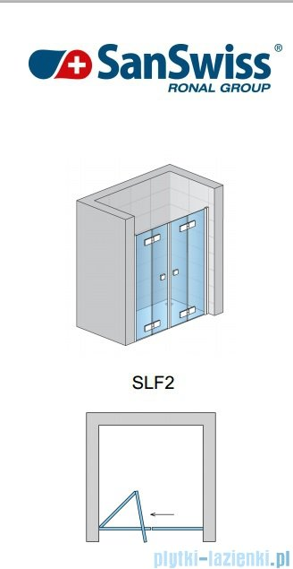 SanSwiss Swing Line F SLF2 Drzwi składane 180cm profil połysk SLF218005007