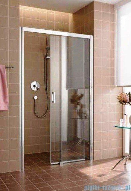Kermi Atea Drzwi przesuwne bez progu, prawe, szkło przezroczyste, profile białe 140x200 ATD2R140202AK