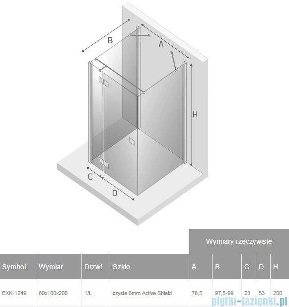 New Trendy Reflexa 80x100x200 cm kabina trójścienna lewa przejrzyste EXK-1249