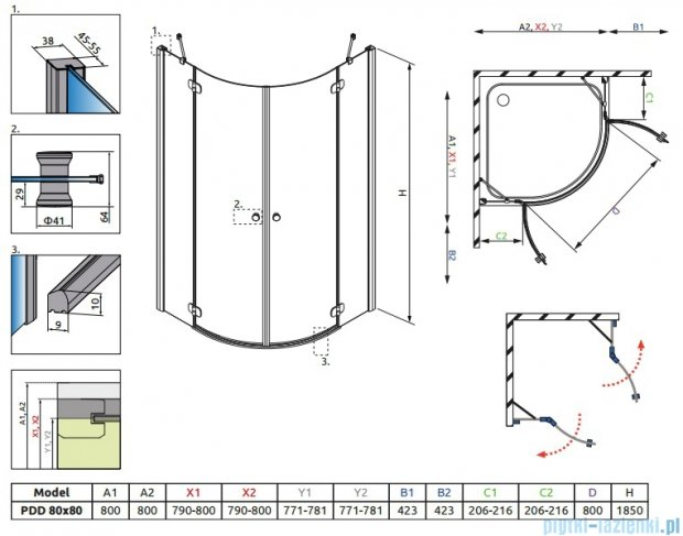 Radaway Torrenta PDD kabina półokrągła 80x80 szkło przejrzyste + brodzik Delos A + syfon 31610-01-01N