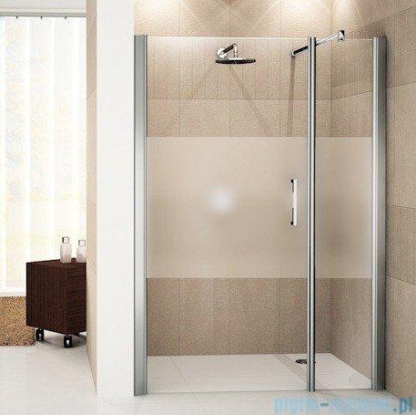 Novellini Drzwi do wnęki z elementem stałym GIADA G+F 132 cm lewe szkło przejrzyste profil biały GIADNGF132S-1A
