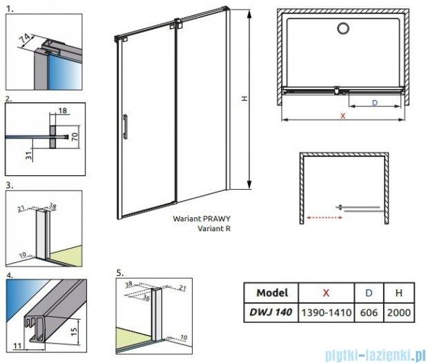 Radaway Espera DWJ Drzwi wnękowe przesuwne 140 prawe szkło przejrzyste 380114-01R