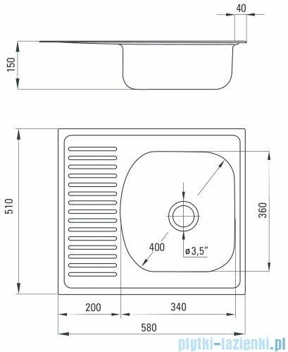 Deante Techno zlewozmywak 1-komorowy z krótkim ociekaczem 58x51 cm dekor ZMU 3113