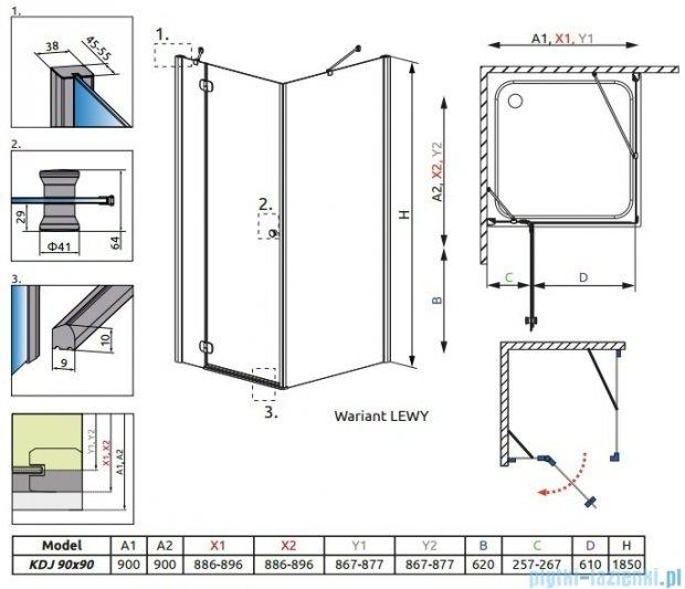 Radaway Torrenta Kdj kabina kwadratowa 90x90 lewa szkło carre + Brodzik Delos C + Syfon 32202-01-10NL