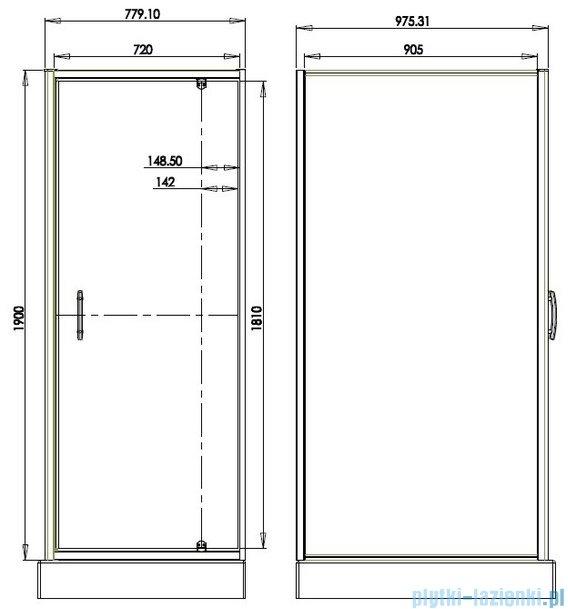 Omnires S kabina prostokątna 80x100x190cm szkło przejrzyste S-80/100KTR