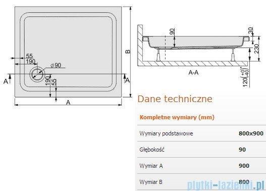 Sanplast Brodzik prostokątny Free Line 90x80x9cm + stelaż 615-040-0150-01-000