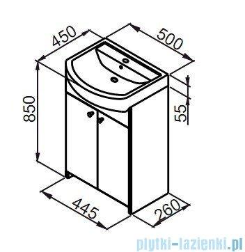 Aquaform Maxi II szafka podumywalkowa 55cm biały 0401-260104