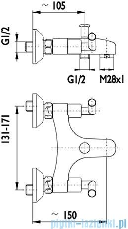 KFA HARMONIC Bateria wannowa ścienna chrom 344-020-00