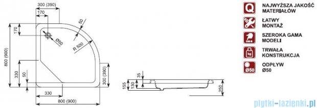 Aquaform Standard brodzik półokrągły 80x80x15,5cm 35025