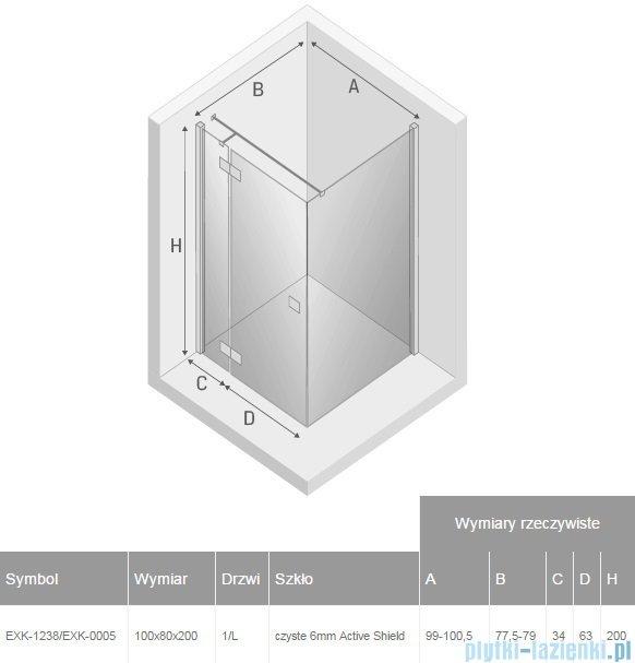 New Trendy Reflexa 100x80x200 cm kabina prostokątna lewa przejrzyste EXK-1238/EXK-0005