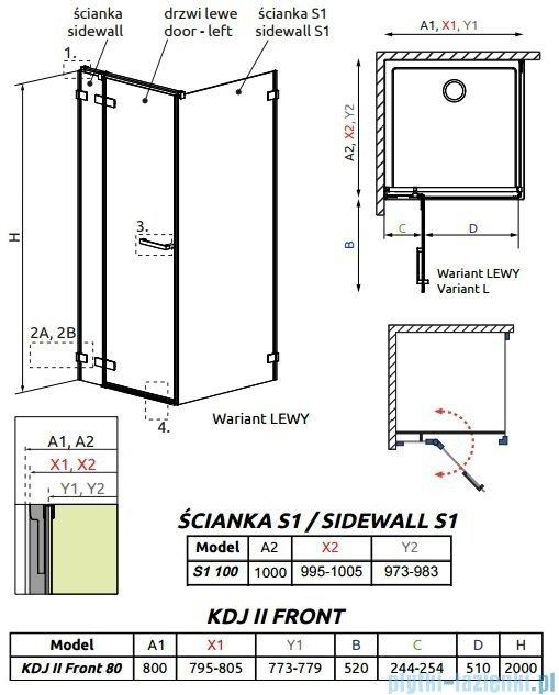Radaway Arta Kdj II kabina 80x100cm lewa szkło przejrzyste 386420-03-01L/386040-03-01L/386022-03-01