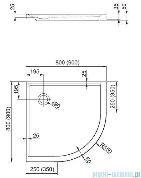 Aquaform Plus 550 brodzik półokrągły superpłytki 90x90cm 200-06921