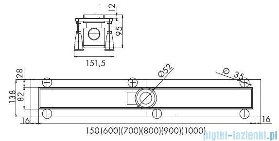 Schedpol odpływ liniowy ruszt satyna 90x8x9,5cm OLSA90/ST