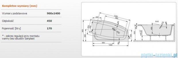 Sanplast Free Line Wanna asymetryczna prawa+stelaż WAP/FREE 140x90+ST26, 610-040-0650-01-000