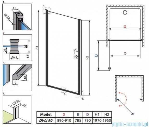 Radaway Eos DWJ Drzwi wnękowe 90 szkło przejrzyste + brodzik Delos C + syfon 37903-01-01N