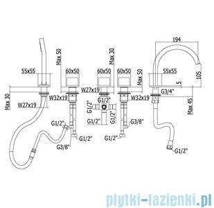 Paffoni Bateria wannowa 5-elementowa Level Piatta chrom LEP044CR
