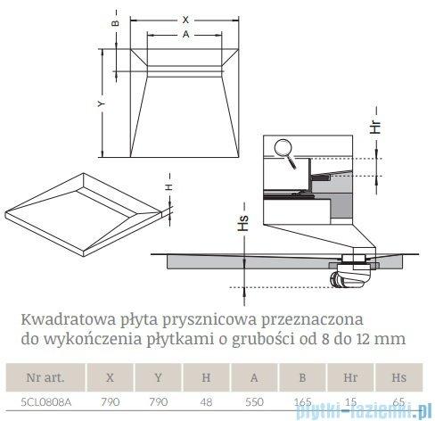 Radaway kwadratowy brodzik podpłytkowy z odpływem liniowym Basic 79x79cm 5CL0808A,5R055B,5SL1